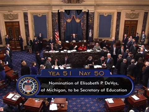 VP Pence Breaks Senate Tie to Confirm Devos