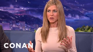 jennifer aniston got used to all those naked people in wanderlust conan on tbs