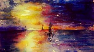 Как научиться рисовать: УРОК 1. Рисуем морской закат (акварель)