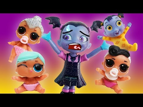 Vampirina Babysits Too Many Babies! Featuring LOL Surprise Dolls Dollface, Coconut QT, and Beats!
