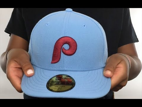 d73a160b498 Phillies  1973-86 LOW-CROWN VINTAGE  Sky Fitted Hat by New Era - YouTube