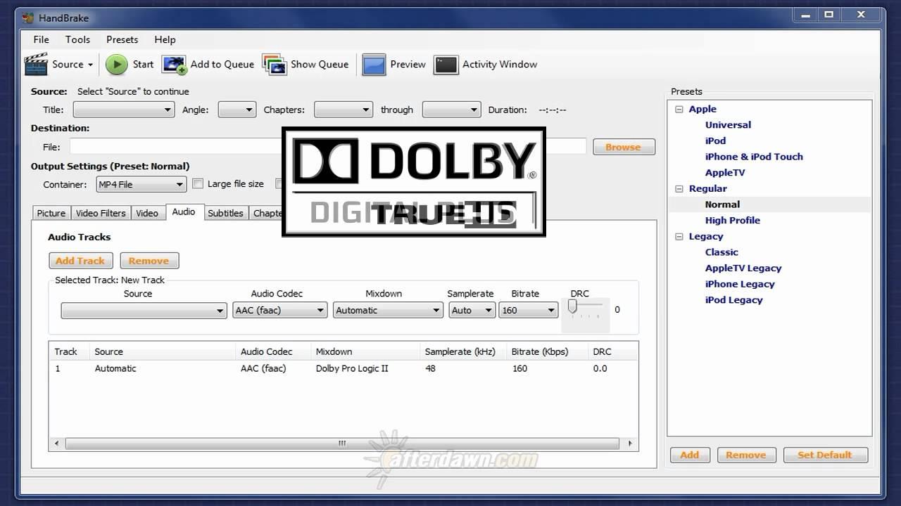 AfterDawn Handbrake Guide Part 9 - Setting audio options