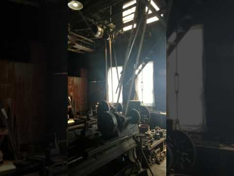 Two Lathes Running via Overhead Line Shaft at Knight Foundry