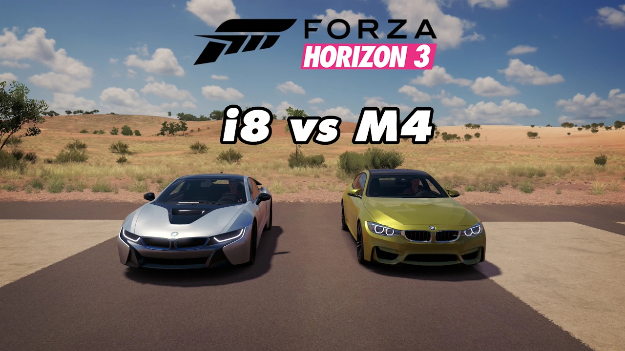 Forza Horizon 3 Drag Races 27 Bmw I8 Vs Bmw M4 Youtube
