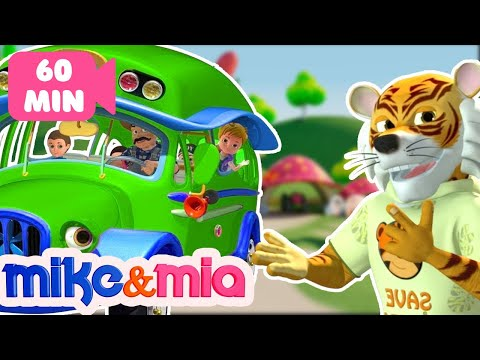 Green Wheels on the Bus | Kindergarten Nursery Rhymes and Songs Collection for Kids by Mike and Mia