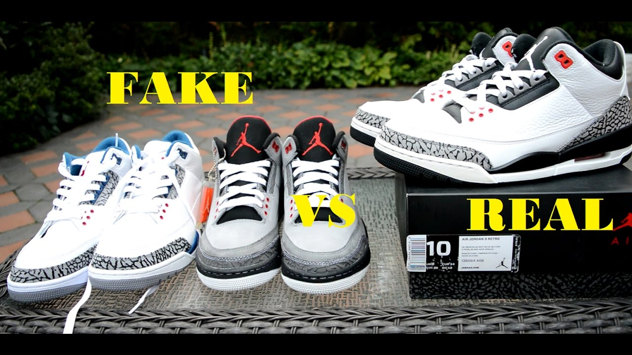ddf2fe0f28c3 NIKE AIR JORDAN 3 III REAL VS FAKE COMPARISON RECENT WAYS IN DEPTH 2016 4  PAIRS