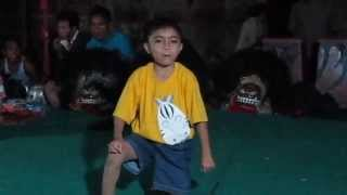 funny ; children dancing barongan, typical Javanese Indonesian dance music