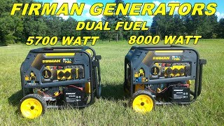 Firman dual fuel Generators 5700 and 8000 watts models - Review