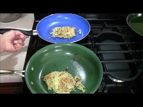 orgreenic frying pan versus yoshi blue diamond pan youtube. Black Bedroom Furniture Sets. Home Design Ideas