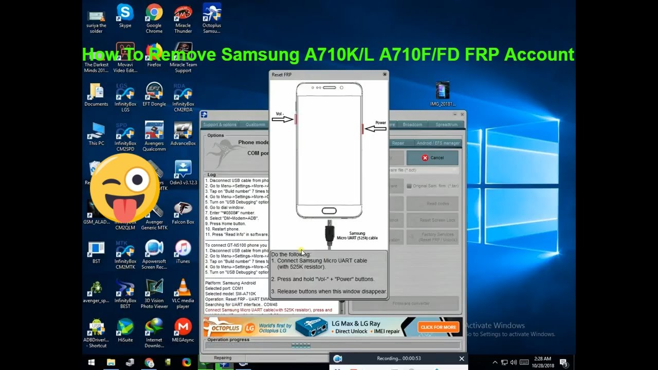 How To Remove Samsung A710K/L A710F/FD FRP Account WITH RJ45 2018