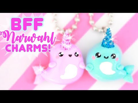 DIY BFF Narwhal CHARMS - with GLITTER!!   Kawaii Friday