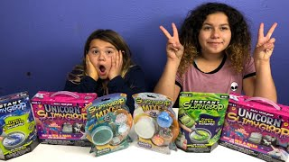 UNICORN SLIME VS MERMAID SLIME-  MAKING SLIME WITH THE NEW SLIMY GLOOP KITS