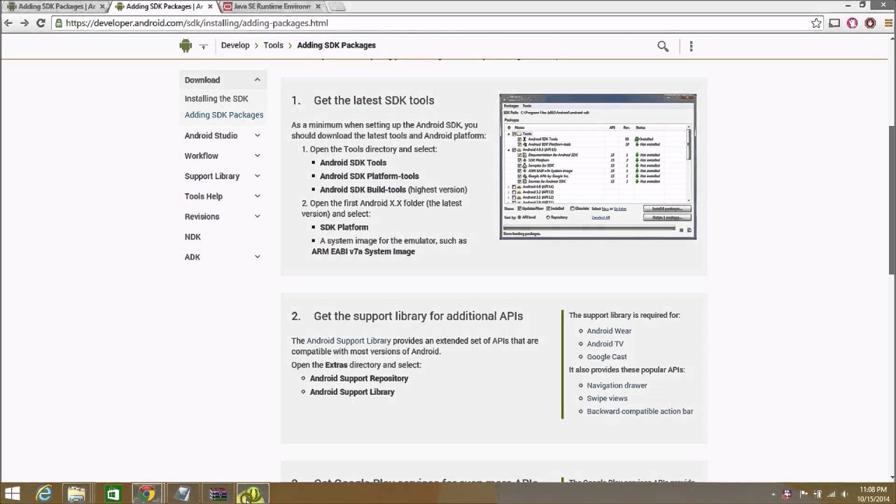 0 - Android development - download android sdk and install the ADT plugin  for eclipse