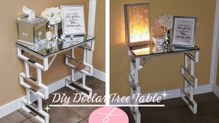 DIY Dollar Tree Table | DIY Large End Table | Mirror Furniture | DIY Room Decor | Display Table