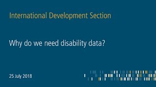 Why do we need disability data? - Making disability visible in statistics (Part 3)