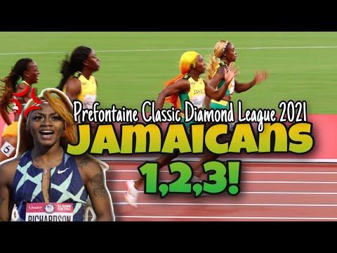 Womens 100M Eugene Diamond League 2021! Jamaica Clean Sweep!
