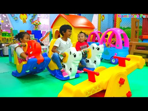 Kiddie Rides Seesaw, Ride Power Feet Wheels Cars Toys, Swimming in The Big Ball Pits Pool