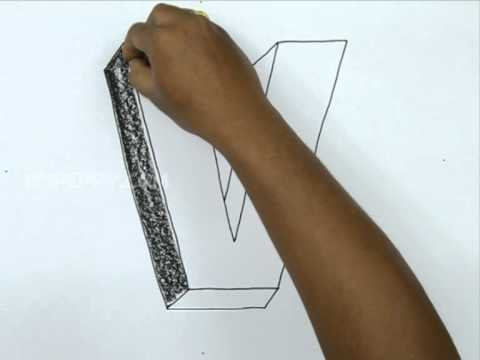 How to Draw V in 3D - YouTube
