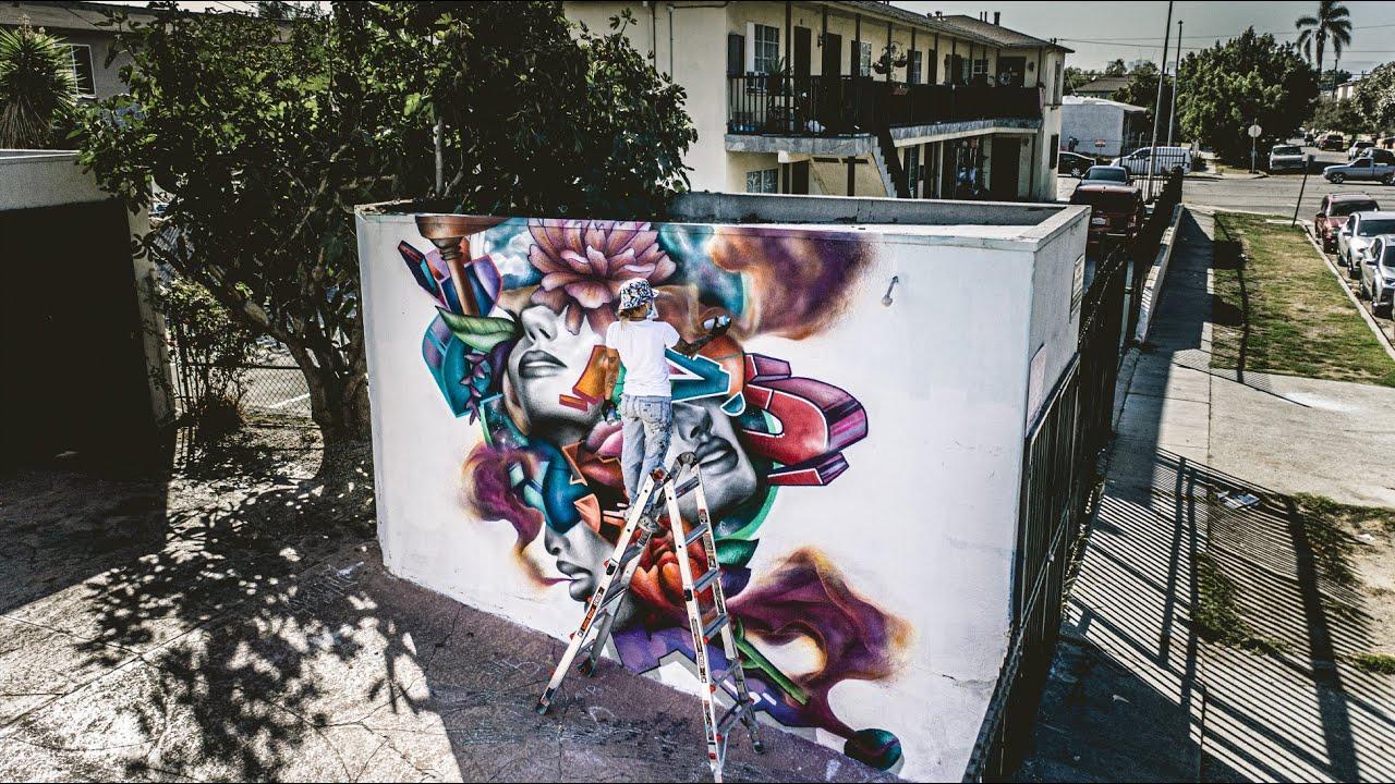 FEMALE GRAFFITI Artist Paints 🔥🔥 Mural in Los Angeles - Ladie One (FC) -  YouTube