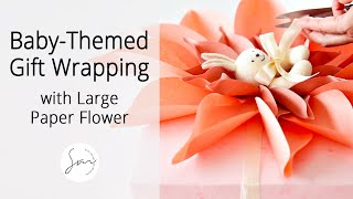 How to Make a Large Paper Flower Design for Your Baby Themed Gift Wrapping