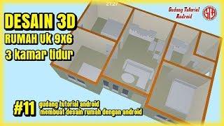 Desain Rumah 3 Kamar Ukuran 9x6 - Gudang Tutorial Android #11|| Tata Ruang Interior Desain