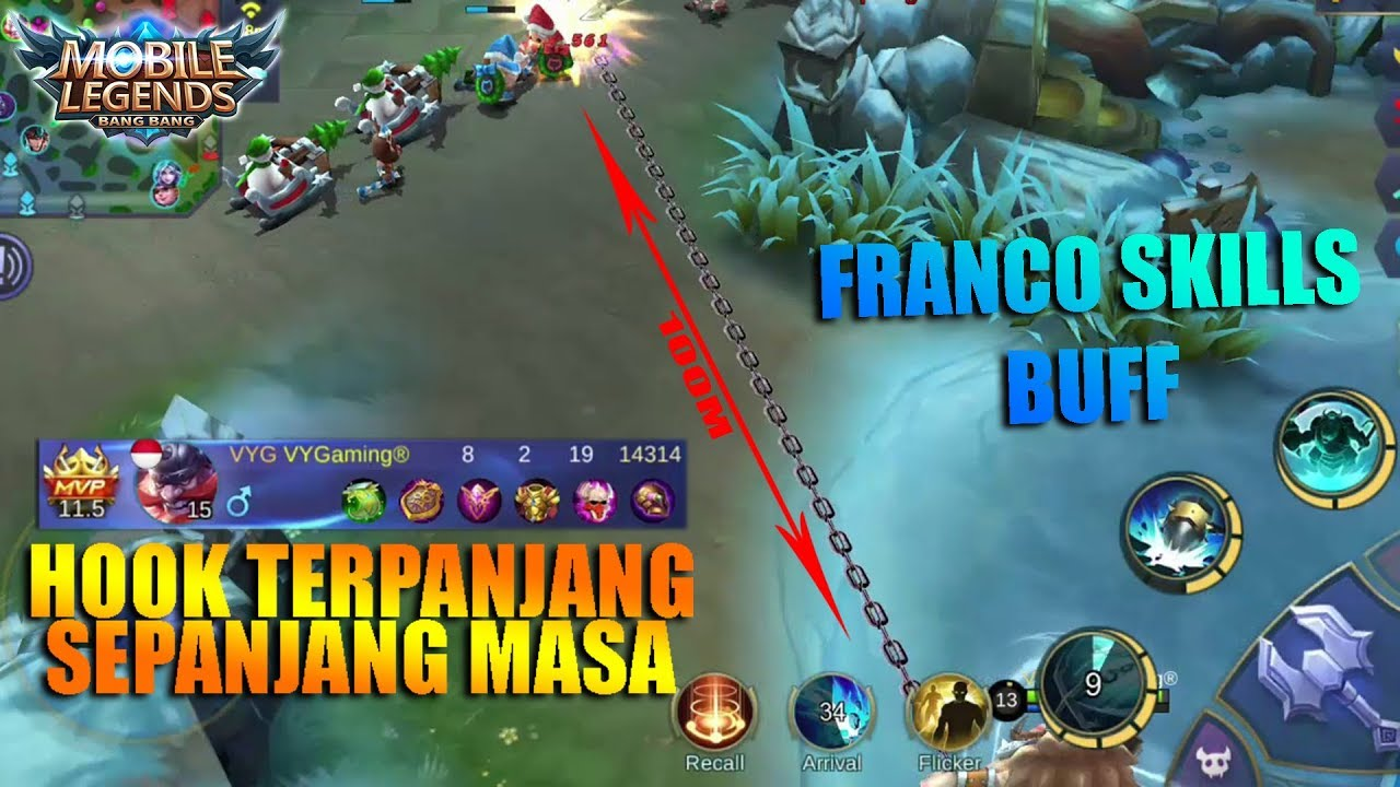 Hook Terpanjang Sepanjang Masa Sampai 100meter - Franco Christmas Map (Mobile Legends Indonesia)