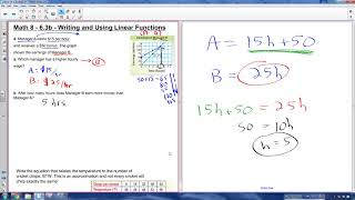 Math 8 - 6.3b - Writing  and Using Linear Functions (part 2)