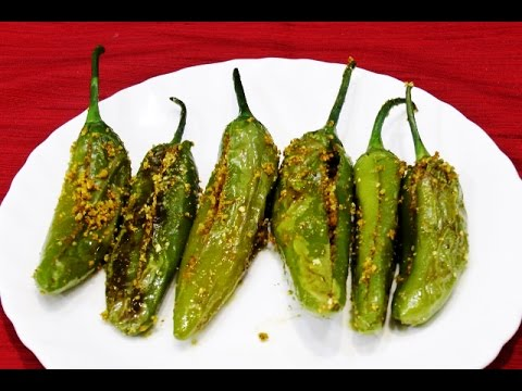 Stuffed Green Chillies Bharli Mirchi Bharwan Mirch Fried Stuffed Green Chillies Recipe Video Youtube