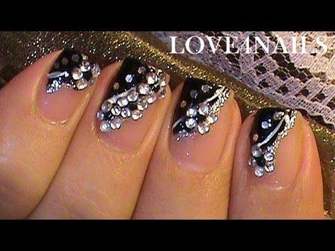 easy black short nail art design tutorial  youtube