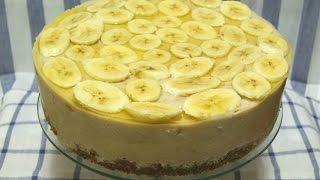 Торт с Бананами и  творожным кремом, без Выпечки..... Очень легкий и вкусный.....