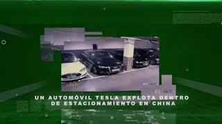 Un automóvil Tesla explota dentro de estacionamiento en China
