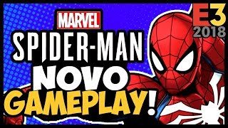 ÉPICO! HOMEM-ARANHA do PS4 -  NOVO GAMEPLAY! EMOÇÃO DEMAIS! #E32018