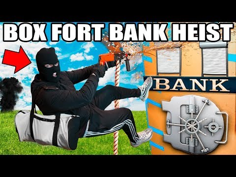 4 STORY BOX FORT BANK HEIST!!  Vault Hacking, Lasers & More!