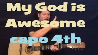 My God Is Awesome (Charles Jenkins) Guitar Lesson Easy Strum chord How to Play