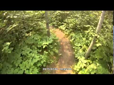 Mountain bike trail riding at Bur Oak Trails at Birds Hill Park Winnepeg 2015-07-03
