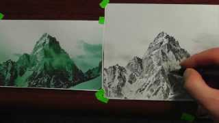 How to draw a mountain -lesson 3 in -realism drawing tips.