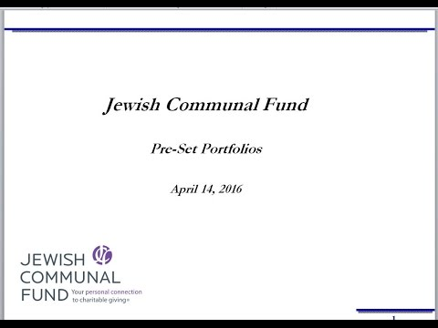 Jewish Communal Fund Pre-Set Investment Portfolios Explained