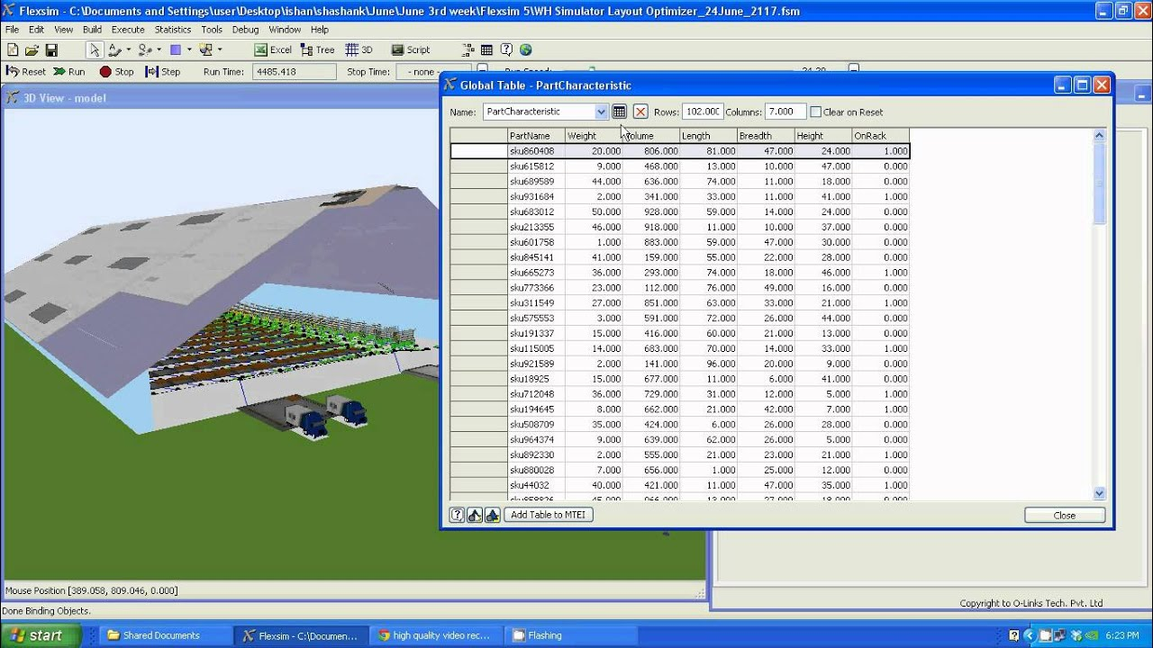 warehousing simulation optimization - a 3-d layout design