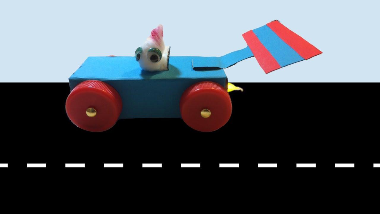 race auto knutselen met een nepkaarsje / lichtje als vuur - YouTube