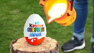 EXPERIMENT: LAVA VS BIG KINDER SURPRISE