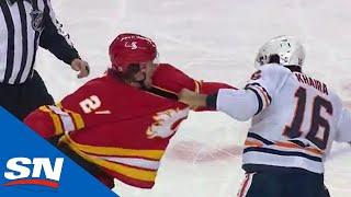 Flames' Brett Ritchie and Oilers' Jujhar Khaira Get In Spirited Tilt