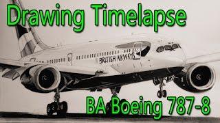 British Airways Boeing 787-8 - Time Lapse Drawing