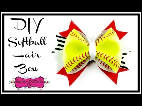 DIY Softball Hair Bow - Using a REAL Softball - Hairbow Supplies, Etc.