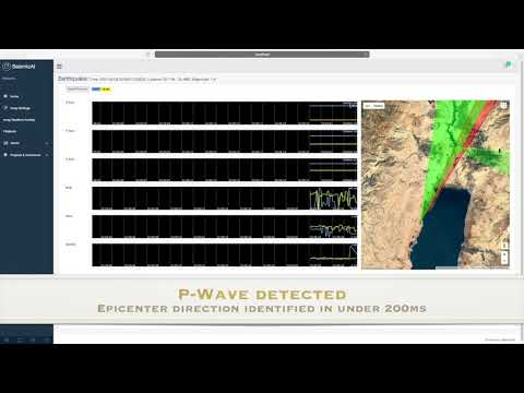 Earthquake detection playback by 2 SeismicAI stations