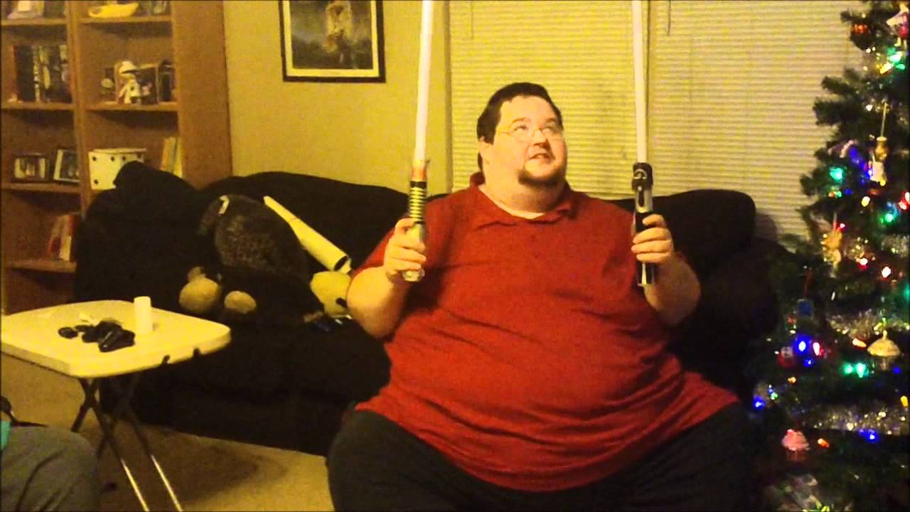 ORIGINAL* Early Christmas Present Light Sabers Fat Guy - YouTube