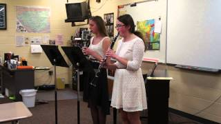 Lindsay and Shannon clarinet duet, 2014 MS Solo Ensemble--Score 1 !!