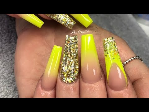 Neon Yellow And Blingy Glitter Acrylic Nails - YouTube