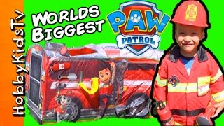 Paw Patrol Mega FIRE TRUCK Eggs! HobbySpider + HobbyTiger Surprise Toys HobbyKidsTV