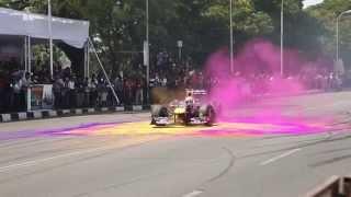 David Coulthard Red Bull show car run Hyderabad, 5th April 2015
