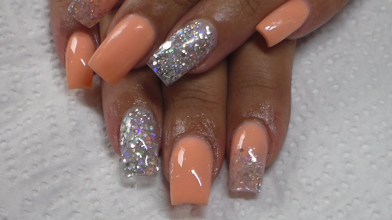 acrylic nails peach sculpted